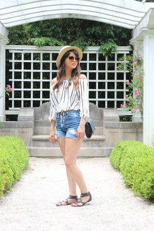 crossbody H&M bag - denim H&M shorts - Forever 21 sunglasses
