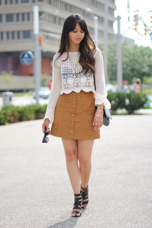 crochet H&M top - JustFab shoes - suede H&M skirt