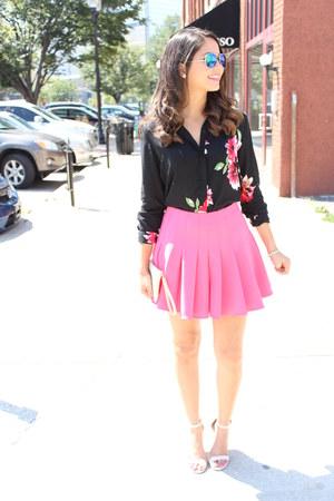 bubble gum skater H&M skirt - floral H&M blouse - Lulus heels