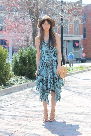 heeled JustFab sandals - H&M dress - fedora H&M hat