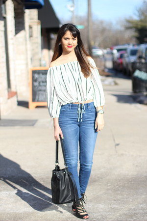 Forever 21 top - JustFab shoes - bucket Forever 21 bag