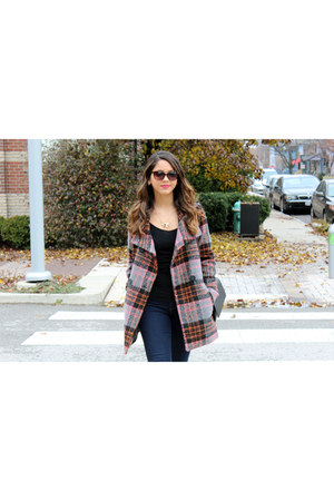 plaid Forever 21 coat - Target shoes - TJ Maxx sunglasses - Forever 21 necklace