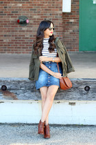 denim Charlotte Russe skirt - JustFab shoes - utility H&M jacket