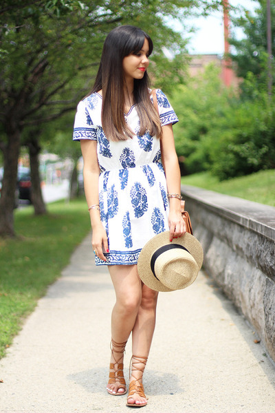 Forever 21 hat - embroidered Sheinside dress - Forever 21 sandals