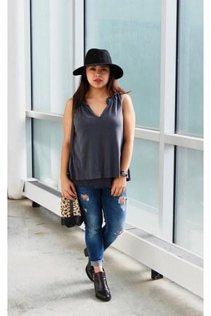 black jack  lucy hat - black Zara boots - blue Bershka jeans