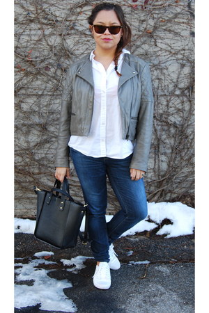 heather gray Massimo Dutti jacket - blue united colors of benetton jeans