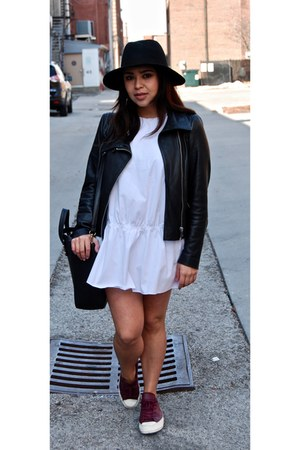 black Mango jacket - white Zara dress - black Zara bag