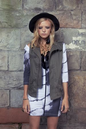 green Public Beware jacket - white Insight dress - black vintage hat