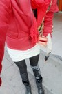 Red-scarf-red-coat-white-dress-black-leggings-black-dr-martens-boots