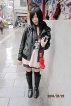 gray jacket - pink dress - black boots