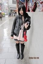 gray jacket - pink dress - black boots