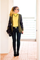 black Forever 21 bag - olive green Sheinside jacket - black romwe pants