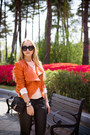 Carrot-orange-michael-kors-jacket-black-rebecca-minkoff-bag