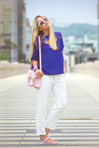 blue OASAP blouse - bubble gum PERSUNMALL bag - white Choies pants