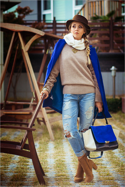 blue WOAKAO bag - bronze Charles & Keith boots - blue Sheinside coat
