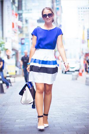 blue WOAKAO bag - blue Forever 21 blouse - blue Sheinside skirt