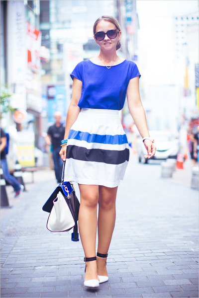 blue WOAKAO bag - blue Forever 21 blouse - blue Sheinside skirt