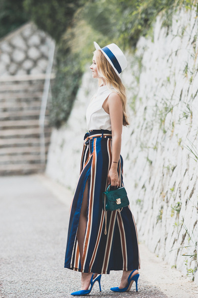 teal romwe bag - navy zaful pants - blue sam edelman heels