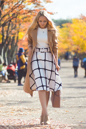white Chicwish skirt - mustard shein coat - light pink Michael Kors bag