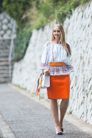 white Rebecca Minkoff bag - white Glamorous blouse - light orange Choies skirt