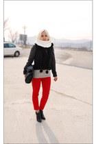 red Forever 21 jeans - black Armani Exchange jacket - white handmade scarf - bla
