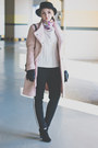 Light-pink-choies-coat-black-rebecca-minkoff-bag-black-forever-21-pants