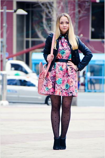 bubble gum Chicwish dress - black Armani Exchange jacket - bubble gum OASAP bag