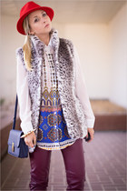 red H&M hat - blue Miss Nabi bag - magenta H&M pants - white romwe blouse