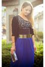 Blue-forever-21-skirt-gold-oasap-belt-black-vedette-intimate
