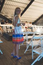 white Rebecca Minkoff bag - blue sam edelman sandals