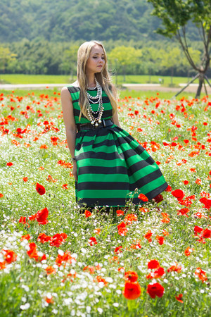 green Choies dress - black Badgley Mischka heels - white handmade necklace
