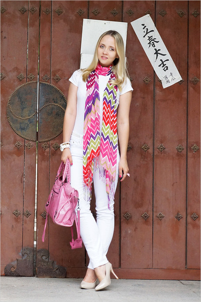 hot pink Forever 21 scarf - white Maro Catte jeans - hot pink balenciaga bag