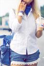 Blue-alexander-mcqueen-scarf-blue-balenciaga-bag-black-ray-ban-sunglasses