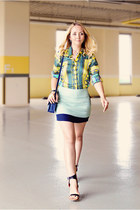turquoise blue Zara blouse - navy Miss Nabi bag - sky blue Miss Nabi skirt