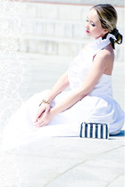 white Msdressy dress - white Zara purse - mustard Taara Jewelry bracelet
