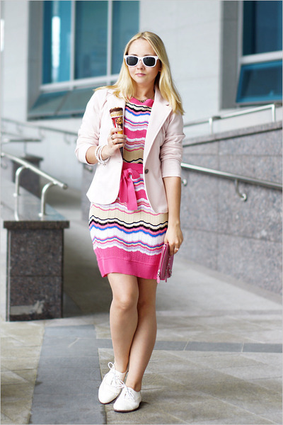 bubble gum Missoni dress - light pink Miss Nabi blazer