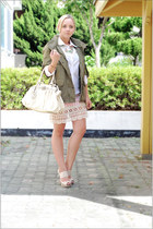 light pink Miss Nabi skirt - olive green Topshop jacket - ivory elle bag