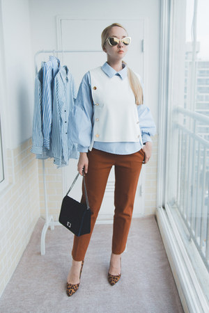light blue romwe blouse - burnt orange Styled Moscow pants
