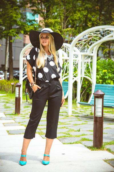 black OASAP blouse - black blackfive hat - black Rebecca Minkoff bag