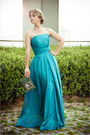 Turquoise-blue-dressestylist-dress-silver-swaroski-necklace