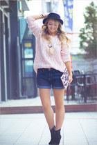 light pink WOAKAO sweater - black WOAKAO boots - light pink BRIANNEFAYE bag