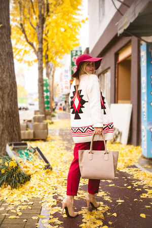 eggshell Forever 21 cardigan - ruby red Choies hat - white Kate-Katy sweater