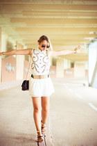 black Choies bag - white Joa dress - mustard OASAP belt