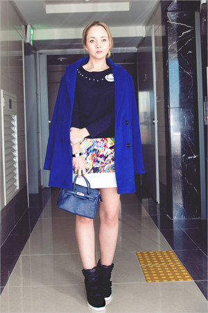 blue Sheinside coat - navy nowIStyle top - white romwe skirt