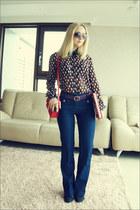 red kira plastinina blouse - blue Forever 21 jeans - red Miss Nabi bag
