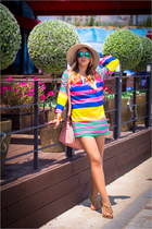 carrot orange OASAP bracelet - bubble gum Imomoi dress - blue zeroUV sunglasses