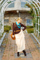 aquamarine H&M ring - bronze Zara sweater - brown Yah bag