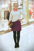 purple Zara skirt - ivory Topshop sweater - gold Forever 21 necklace