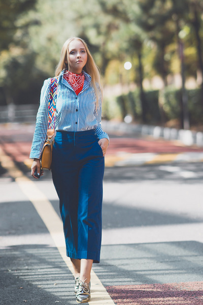 yellow romwe belt - blue Forever 21 pants