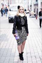 white Miss Nabi dress - black asos boots - black Armani Exchange jacket
